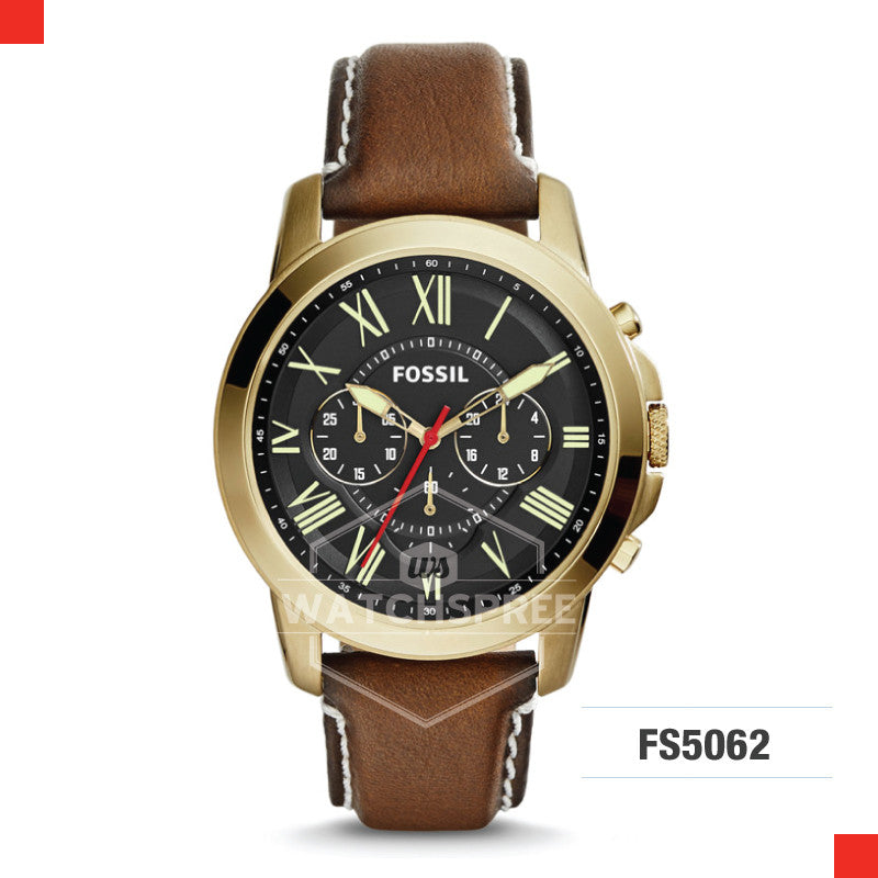 Fossil Men Grant Chronograph Dark Brown Leather Watch FS5062