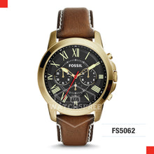 Load image into Gallery viewer, Fossil Men Grant Chronograph Dark Brown Leather Watch FS5062