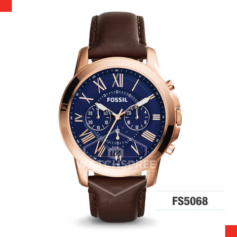 Fossil Men Grant Chronograph Brown Leather Watch FS5068