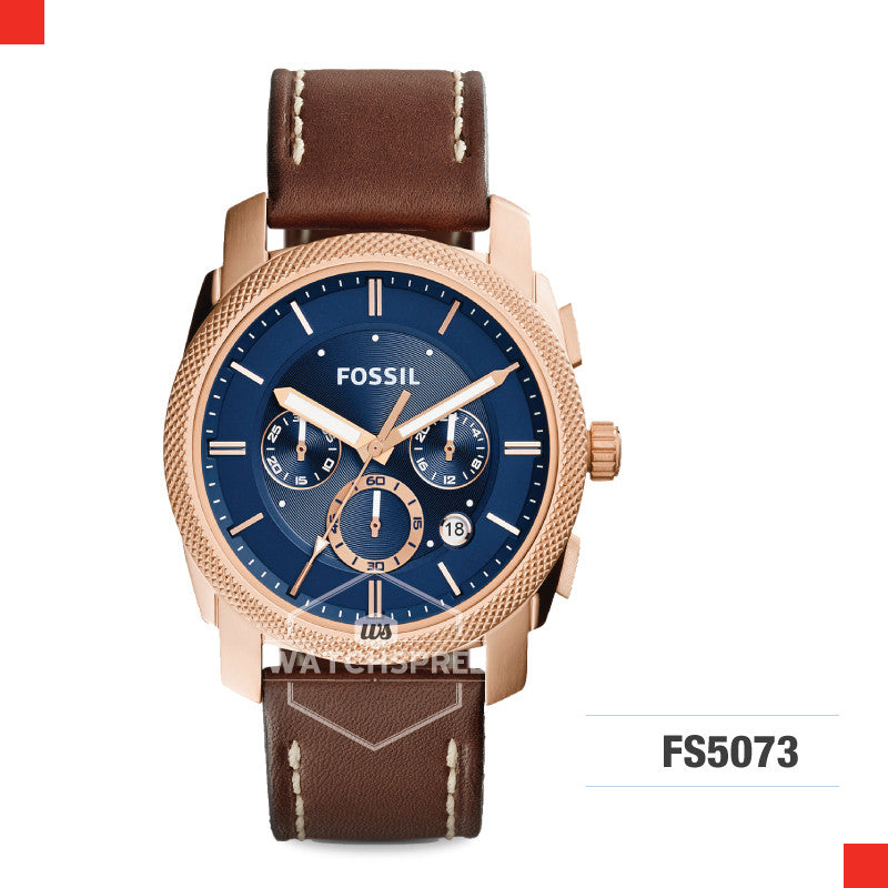Fossil Men Machine Chronograph Blue Dial Brown Leather Watch FS5073