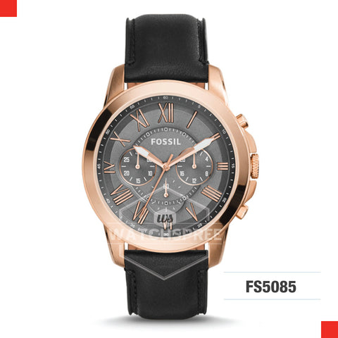 73bc1ba4b031 Fossil Men Grant Chronograph Black Leather Watch FS5085