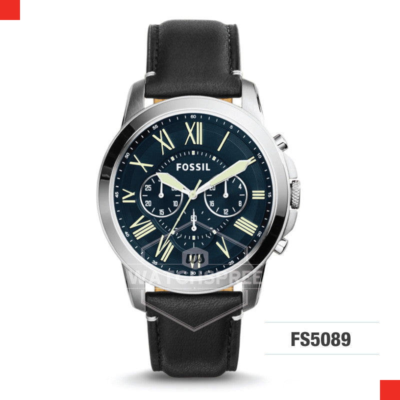 Fossil Men Grant Chronograph Black Leather Watch FS5089