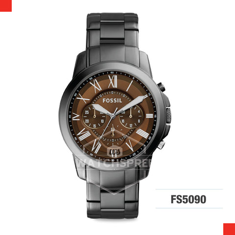 Fossil Men Grant Chronograph Smoke Stainless Steel Watch FS5090