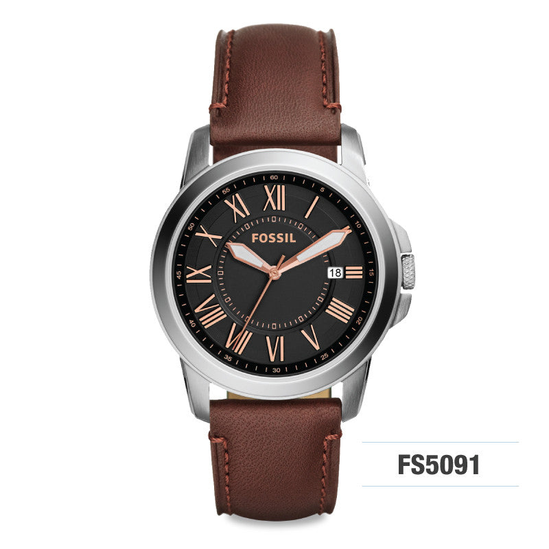 Fossil Grant Brown Men's Leather Watch FS5091
