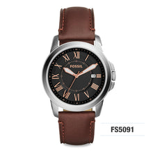 Load image into Gallery viewer, Fossil Grant Brown Men's Leather Watch FS5091