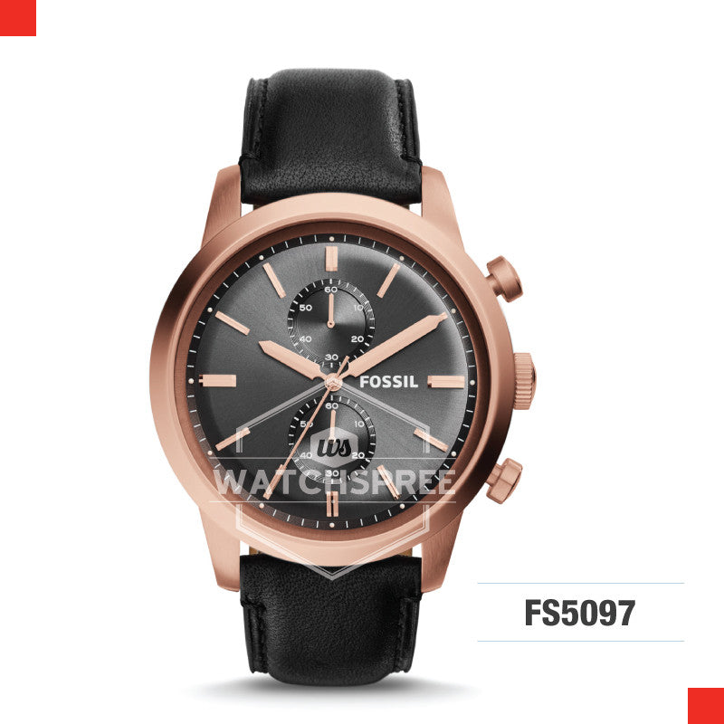 Fossil Men Townsman Chronograph Black Leather Watch FS5097