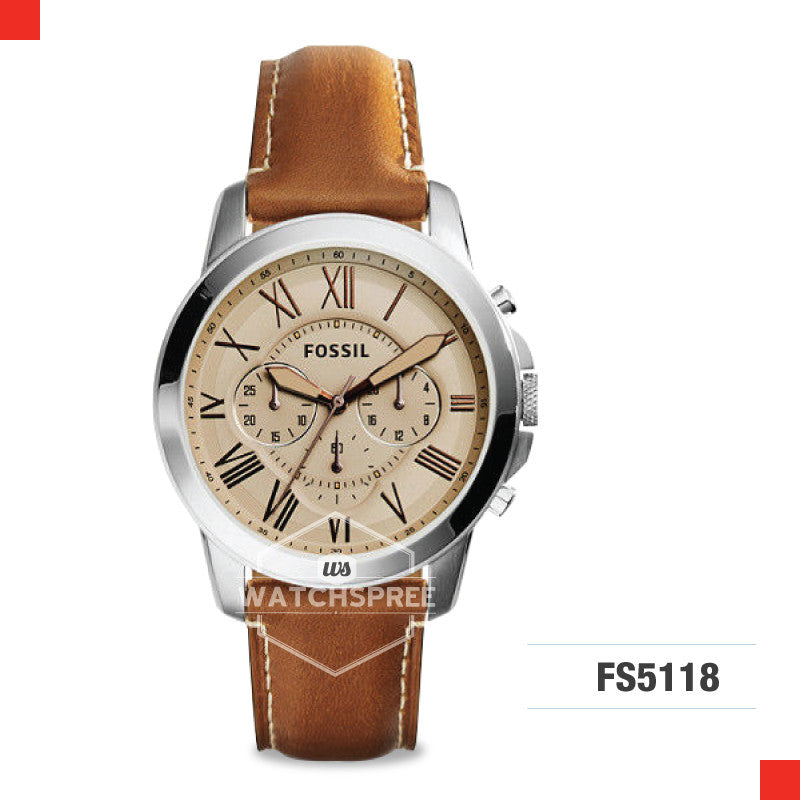Fossil Men Grant Chronograph Light Brown Leather Watch FS5118