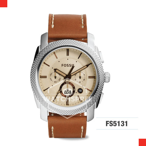 Fossil Men Machine Chronograph Light Brown Leather Watch FS5131