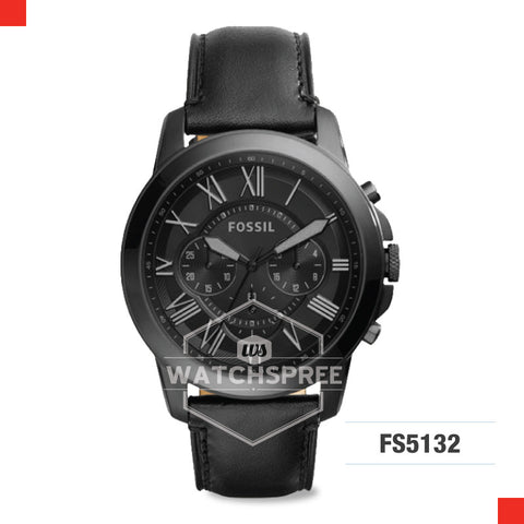 Fossil Men Grant Chronograph Black Leather Watch FS5132