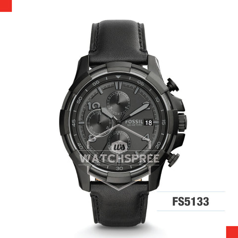 Fossil Men Dean Chronograph Black Leather Watch FS5133