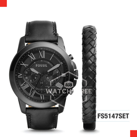 Fossil Men Grant Chronograph Black Leather Watch and Bracelet Set FS5147SET