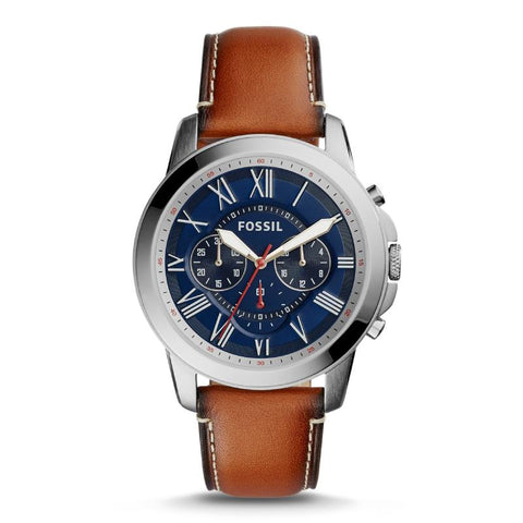 Fossil Men's Grant Chronograph Light Brown Leather Watch FS5210