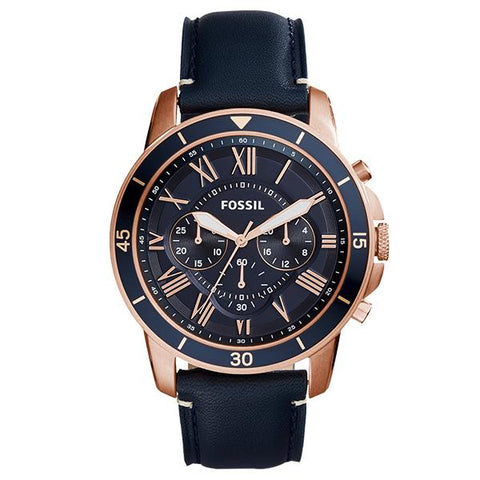 Fossil Men's Grant Sport Chronograph Blue Leather Watch FS5237