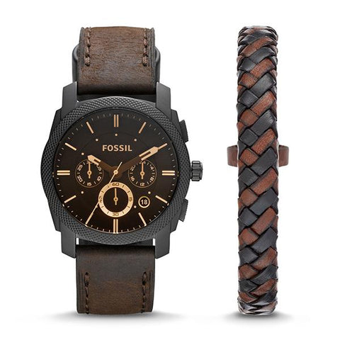 Fossil Men's Machine Chronograph Dark Brown Leather Watch and Bracelet Box Set FS5251SET