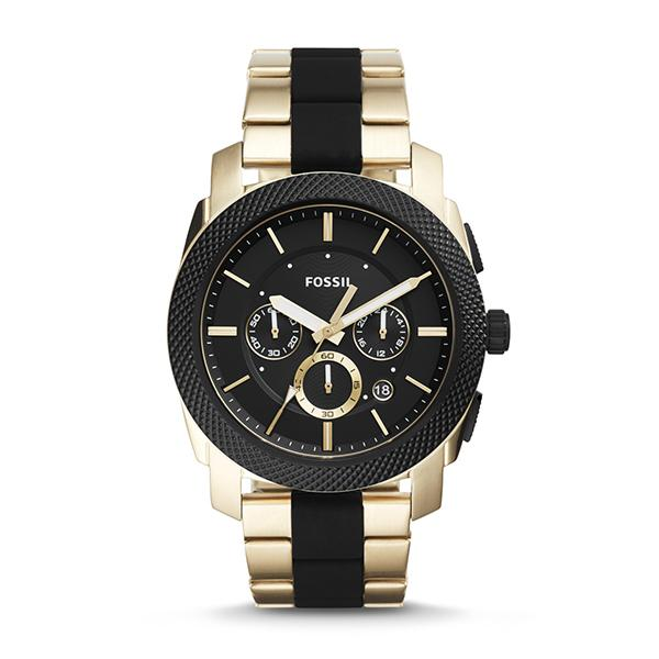 27e4613603adb Fossil Men s Machine Chronograph Black Silicone and Gold-Tone Stainless  Steel Watch FS5261