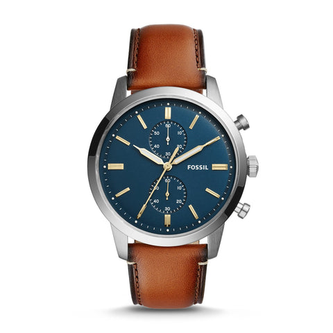 Fossil Mens' Townsman 44mm Chronograph Luggage Leather Watch FS5279