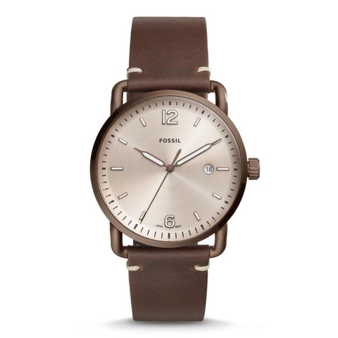 Fossil Men's The Commuter Three-Hand Date Brown Leather Strap Watch FS5341