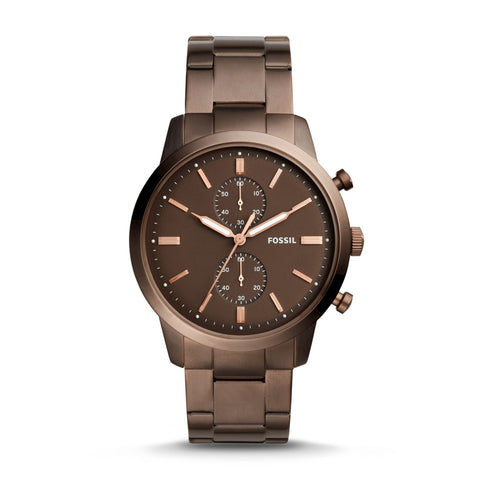 Fossil Men's Townsman 44mm Chronograph Brown Stainless Steel Bracelet Watch FS5347