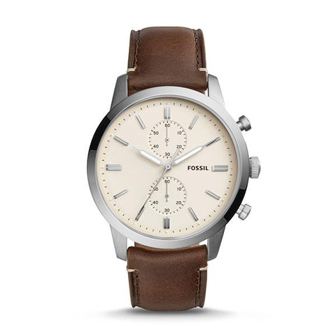 Fossil Men's Townsman 44mm Chronograph Brown Leather Watch FS5350
