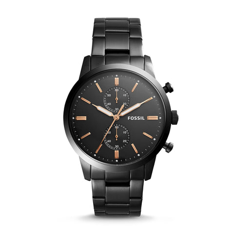 Fossil Men's Townsman 44mm Chronograph Black Stainless Steel Bracelet Watch FS5379