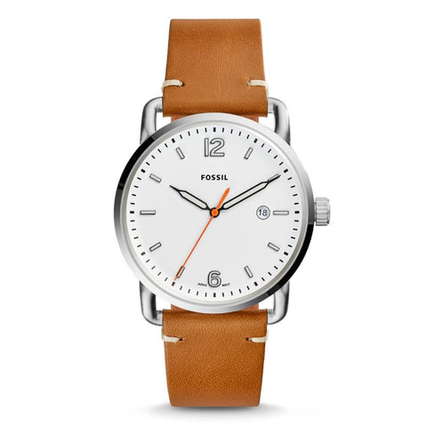 Fossil Men's The Commuter Three-Hand Date Light Brown Leather Strap Watch FS5395