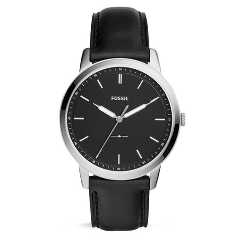 Fossil Men's The Minimalist Three-Hand Black Leather Strap Watch FS5398