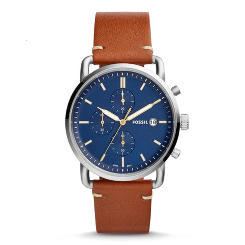 Fossil Men's The Commuter Chronograph Light Brown Leather Strap Watch FS5401