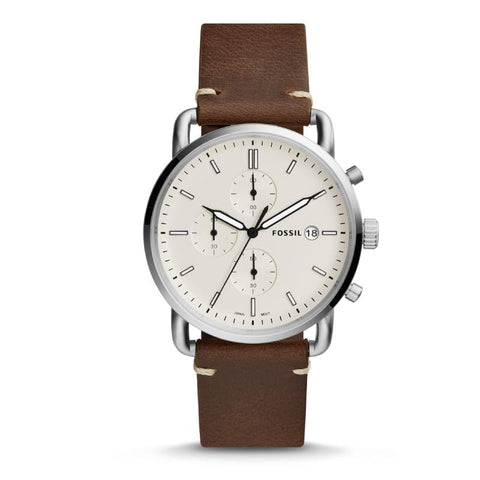 Fossil Men's The Commuter Chronograph Brown Leather Strap Watch FS5402