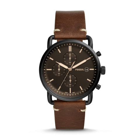 Fossil Men's The Commuter Chronograph Brown Leather Watch FS5403