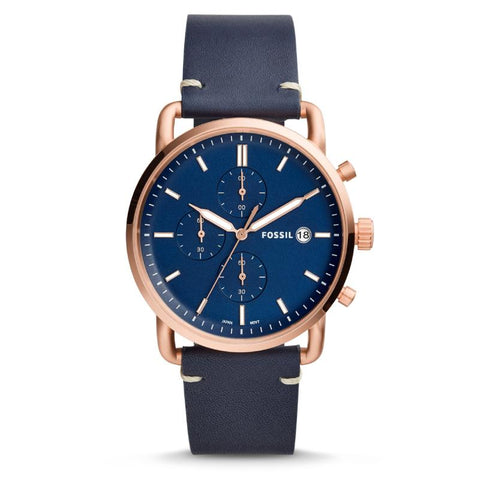 Fossil Men's The Commuter Chronograph Navy Leather Watch FS5404