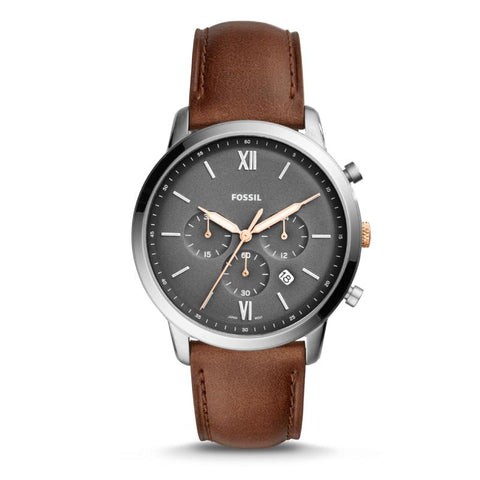 Fossil Men's Neutra Chronograph Light brown Leather Strap Watch FS5408