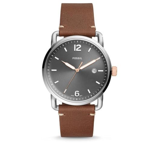 Fossil Men's The Commuter Three-Hand Date Light Brown Leather Watch FS5417