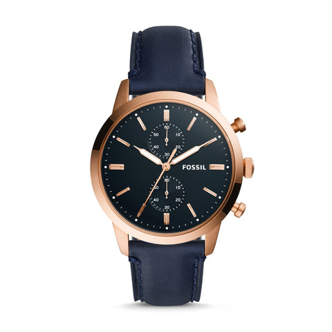 Fossil Men's Townsman 44mm Chronograph Navy Leather Watch FS5436