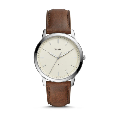 Fossil Me's The Minimalist Three-Hand Brown Leather Watch FS5439