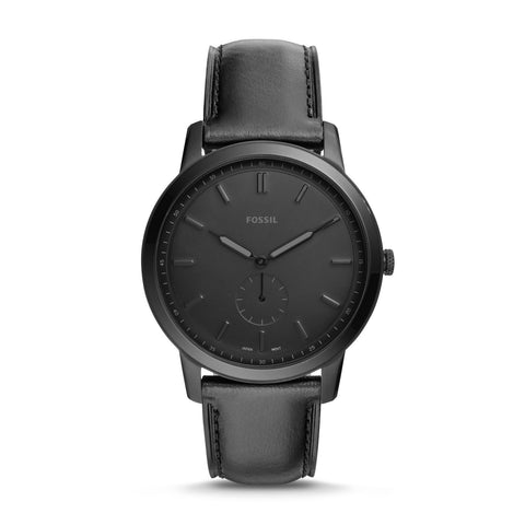 Fossil Men's The Minimalist Two Hand Black Leather Watch FS5447