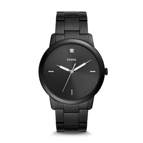 Fossil Men's The Minimalist Carbon Series Three-Hand Black Stainless Steel Watch FS5455