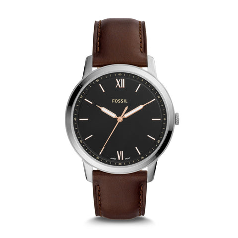 Fossil Men's The Minimalist Three-Hand Brown Leather Watch FS5464