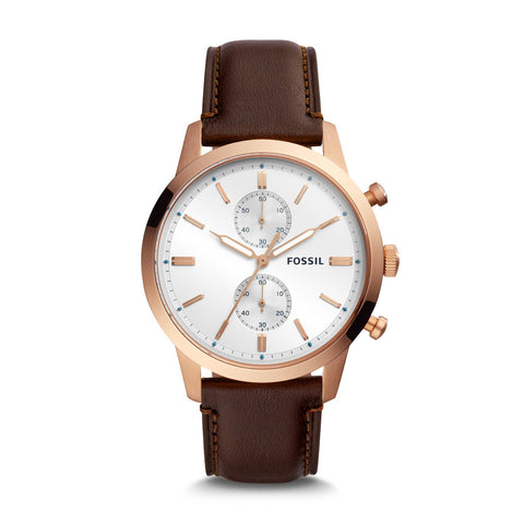Fossil Men's Townsman Chronograph Java Leather Watch FS5468