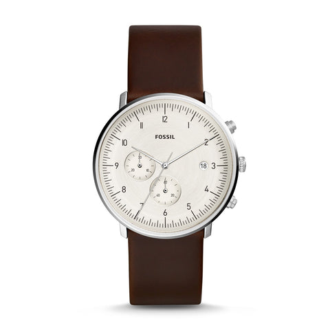 Fossil Men's Chase Timer Chronograph Brown Leather Watch FS5488