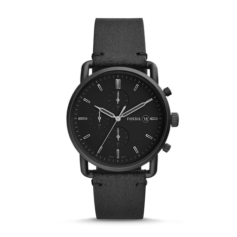 Fossil Men's Commuter Chronograph Black Leather Strap Watch FS5504