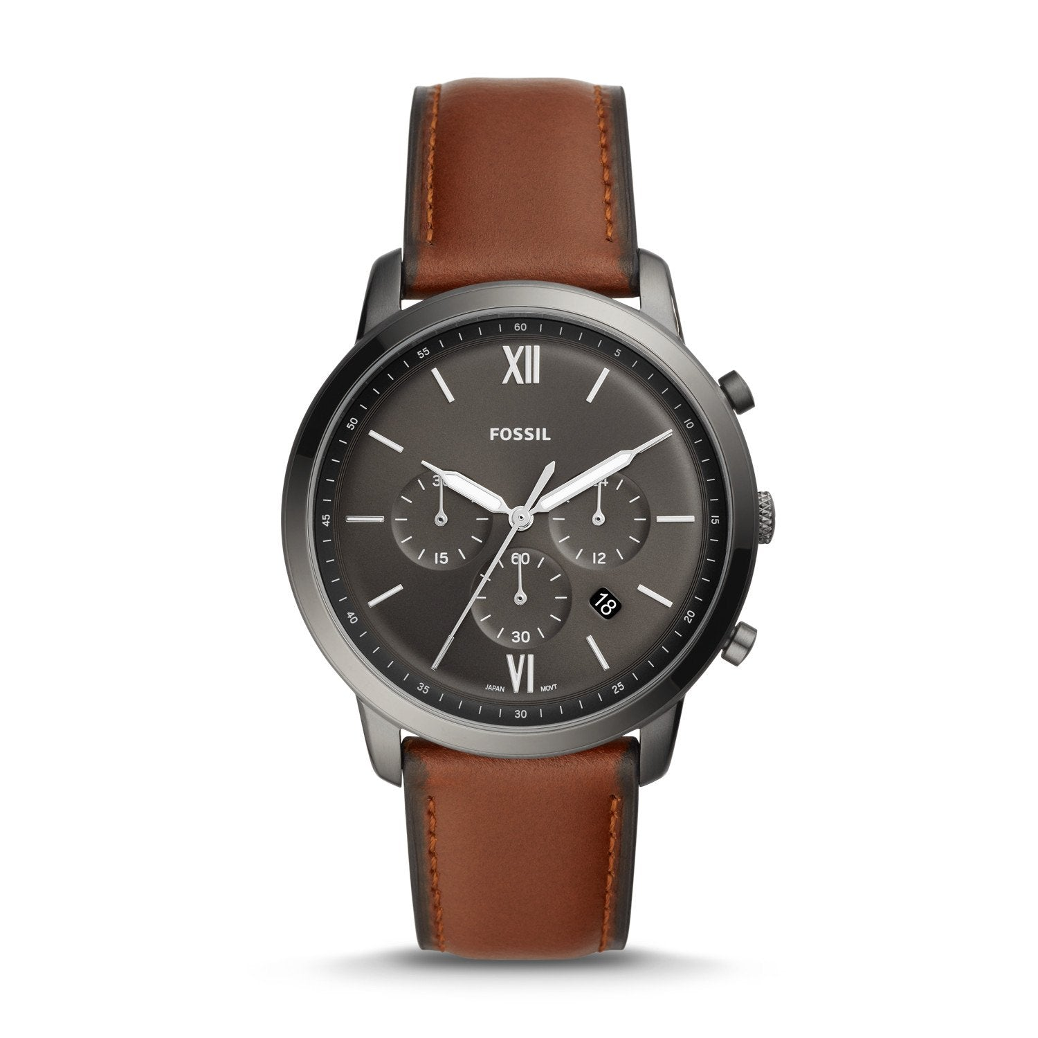 Fossil Men's Neutra Chronograph Amber Brown Leather Watch FS5512