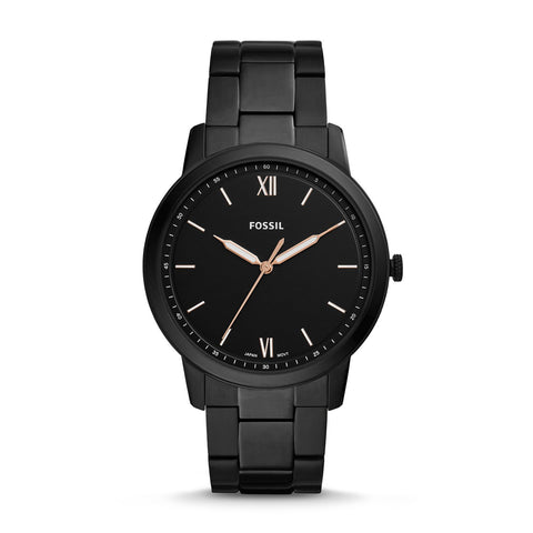 Fossil Men's The Minimalist Three-Hand Black Stainless Steel Watch FS5526