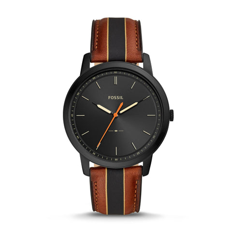 Fossil Men's Minimalist Three-Hand Striped Luggage Leather Watch FS5556