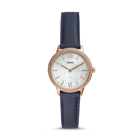 Fossil Ladies' Addison Three-Hand Date Navy Leather Watch FS5569