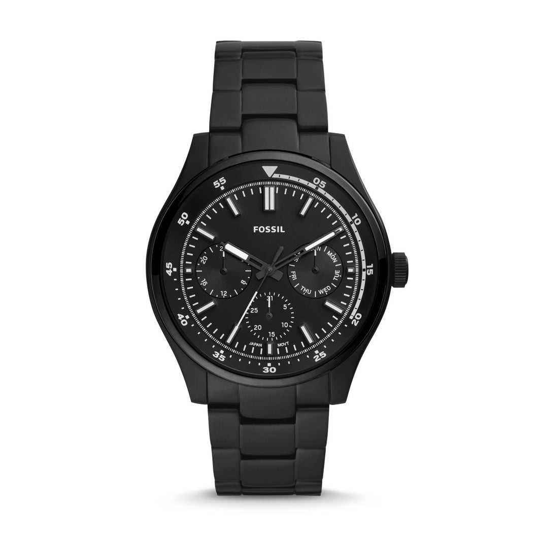 Fossil Men's Belmar Multifunction Black Stainless Steel Watch FS5576