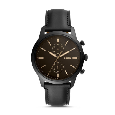 Fossil Men's Townsman 44mm Chronograph Black Leather Watch FS5585