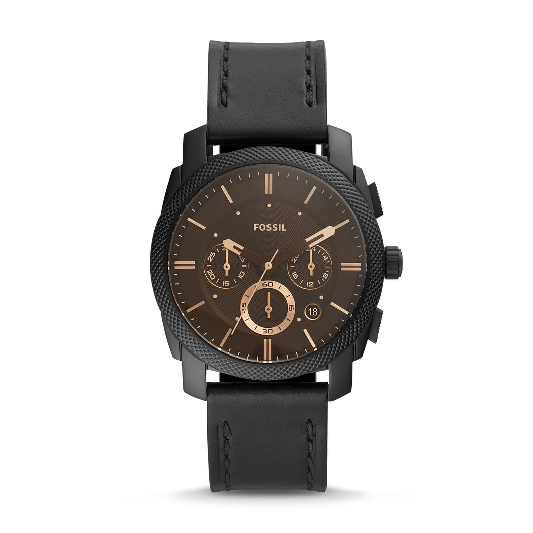 Fossil Men's Machine Chronograph Black Leather Watch FS5586