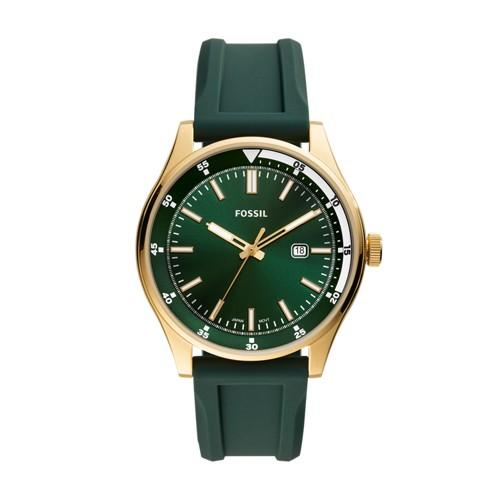 Fossil Men's Belmar Three-Hand Date Dark Green Silicone Watch FS5597