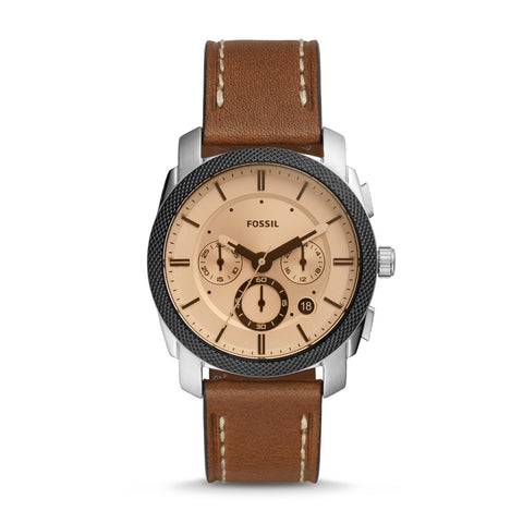 Fossil Men's Machine Chronograph Brown Leather Watch FS5620