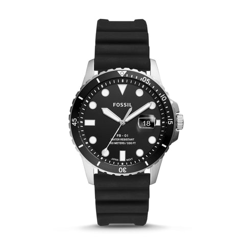 Fossil Men's FB-01 Three-Hand Date Black Silicone Watch FS5660